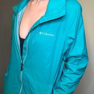 Teal Columbia rain jacket